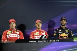 Press conference: race winner Sebastian Vettel, Ferrari, second place Kimi Raikkonen, Ferrari, third place Daniel Ricciardo, Red Bull Racing
