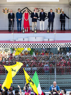 The Monegasque royal family on the podium