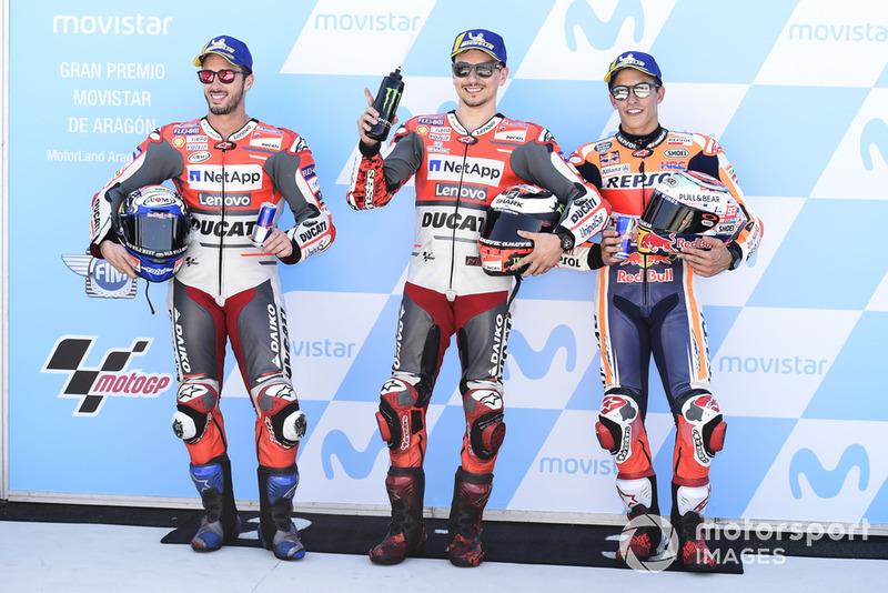 Les hommes de la première ligne : Andrea Dovizioso, Jorge Lorenzo et Marc Márquez