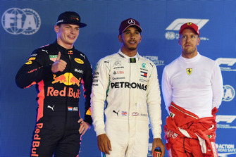 (L to R): Max Verstappen, Red Bull Racing, Lewis Hamilton, Mercedes AMG F1 and Sebastian Vettel, Ferrari celebrate in parc ferme