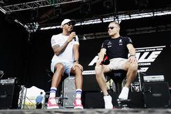 Lewis Hamilton, Mercedes AMG F1 W08, Valtteri Bottas, Mercedes AMG F1, on stage at a fan event