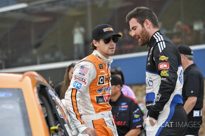 Ryan Blaney, Wood Brothers Racing Ford, Corey LaJoie, BK Racing Toyota