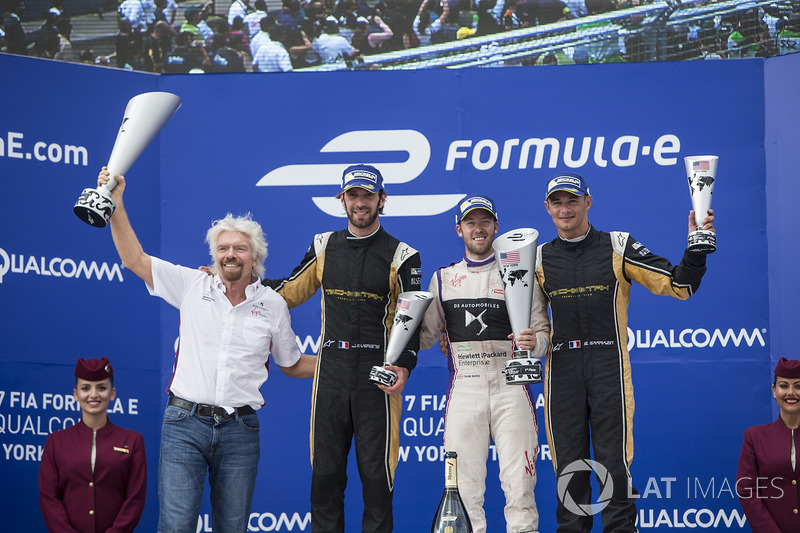 Sr Richard Branson, Sam Bird, DS Virgin Racing, Jean-Eric Vergne, Techeetah, y Stéphane Sarrazin, Te
