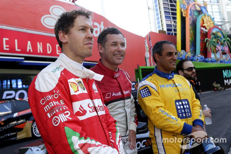 Sebastian Vettel, Tom Kristensen y Juan Pablo Montoya