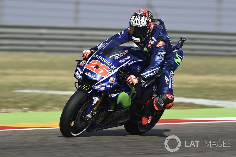 Apenas 0s5 à frente de Rossi no resultado final, Maverick Viñales viveu dia difícil em Aragón. O pole não teve ritmo para lutar pela vitória e teve que se contentar com o 4º. Agora, ele está a 28 pontos de Márquez no mundial.