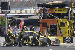 Daniel Suárez, Joe Gibbs Racing Toyota, makes a pit stop