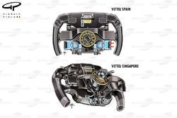 Ferrari SF70H, Vettel's steering wheel comparison