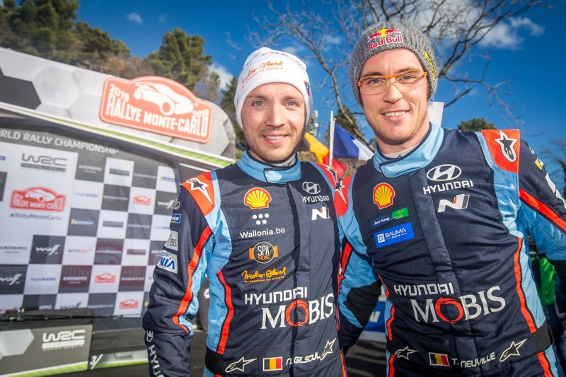 Podio: al secondo posto Thierry Neuville, Nicolas Gilsoul, Hyundai Motorsport Hyundai i20 Coupe WRC