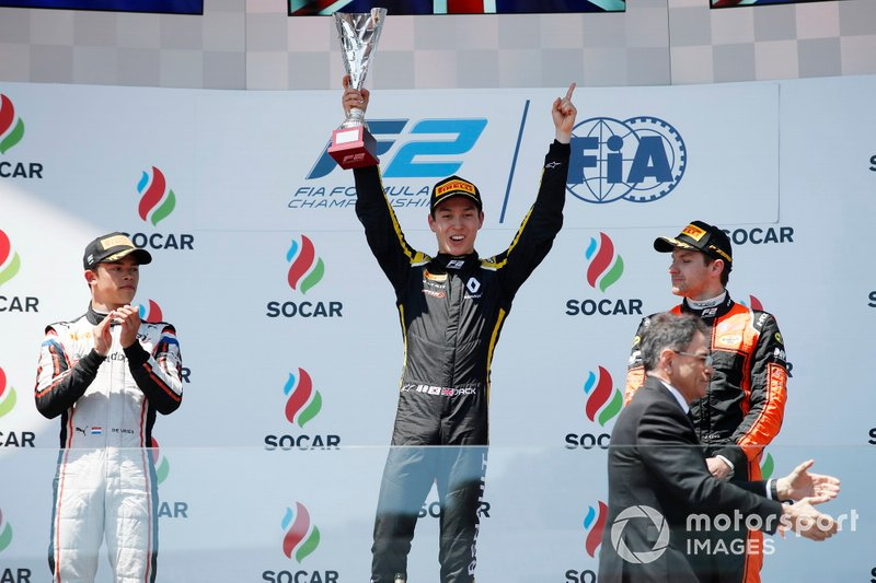Jack Aitken, CAMPOS RACING, celebrates on the podium with Jordan King, MP MOTORSPORT, and Nyck De Vries, ART GRAND PRIX
