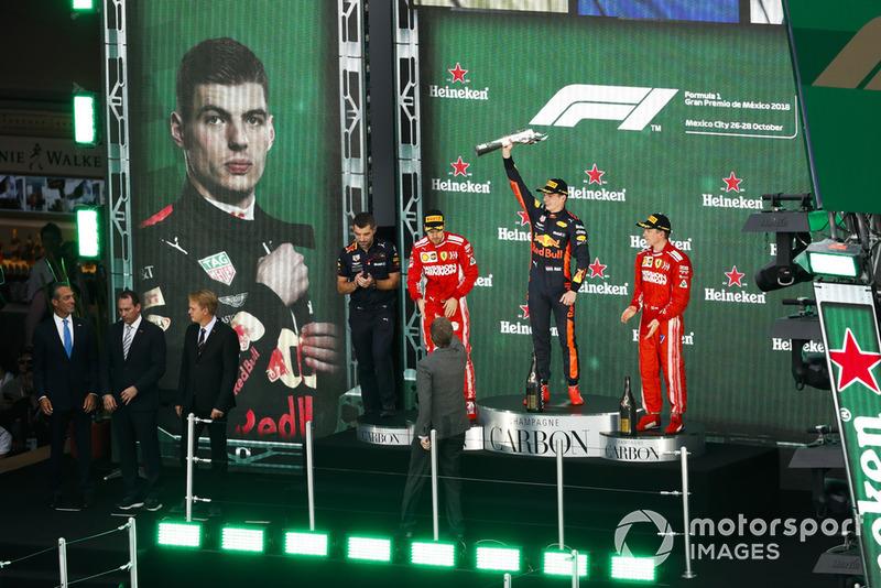 Гран Прі Мексики. Подіум: Макс Ферстаппен, Себастьян Феттель, Кімі Райкконен