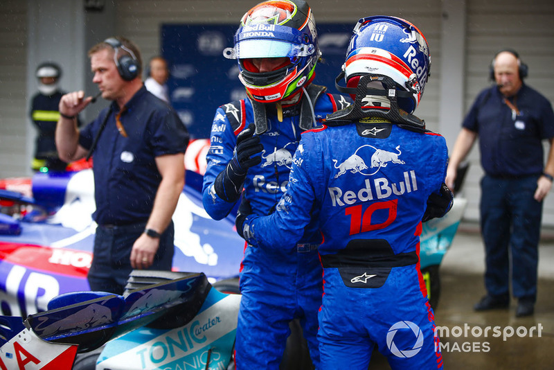 Brendon Hartley, Toro Rosso, and Pierre Gasly, Toro Rosso, congratulate each other in parc ferme after qualifying.