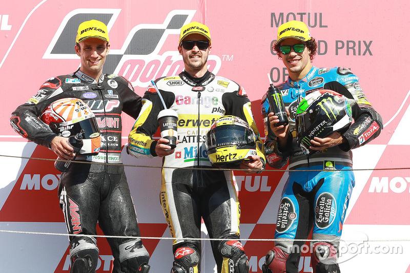Podium: 1. Thomas Lüthi, Interwetten; 2. Johann Zarco, Ajo Motorsport; 3. Franco Morbidelli, Marc VDS