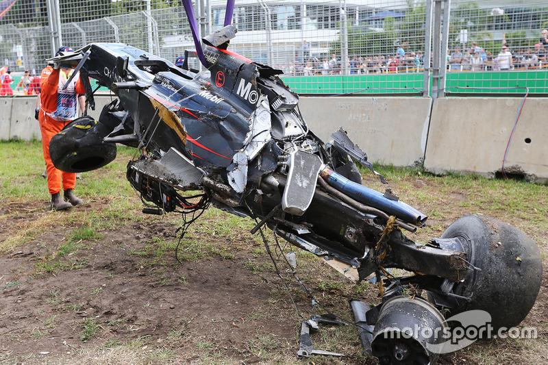 Detailaufnahme von Alonsos McLaren-Wrack