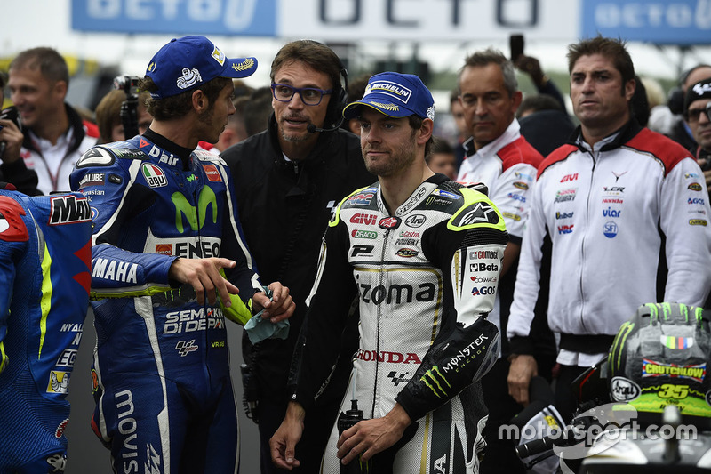 Poleman Cal Crutchlow, Team LCR Honda, secondo qualificato Valentino Rossi, Yamaha Factory Racing