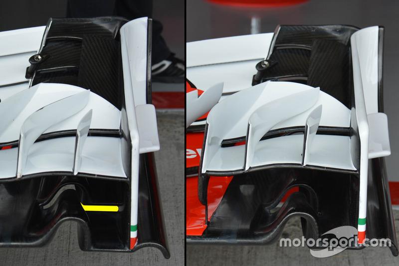 Ferrari SF16-H: Frontflügel, Vergleich