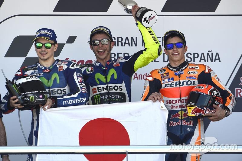 1. Valentino Rossi, 2. Jorge Lorenzo, 3. Marc Marquez