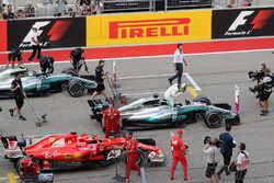 Polesitter Lewis Hamilton, Mercedes-Benz F1 W08 celebrates in parc ferme with Sebastian Vettel, Ferrari SF70H and Valtteri Bottas, Mercedes-Benz F1 W08