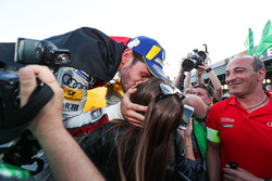 Daniel Abt, Audi Sport ABT Schaeffler, wins the Berlin ePrix, celebrates by kissing his girlfriends