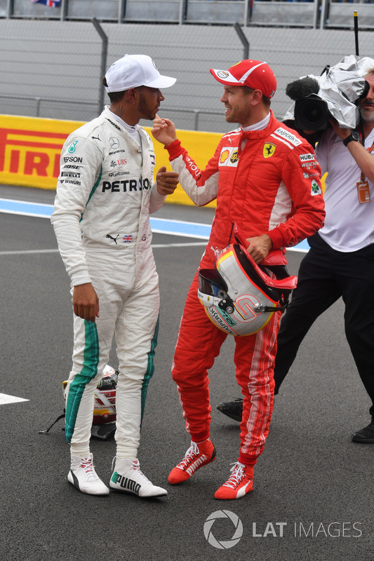 Lewis Hamilton, Mercedes-AMG F1 ve Sebastian Vettel, Ferrari