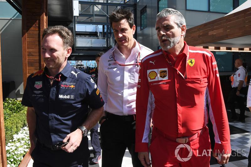 Christian Horner, Red Bull Racing Team Principal, Toto Wolff, Mercedes AMG F1, Maurizio Arrivabene, Ferrari Team Principal