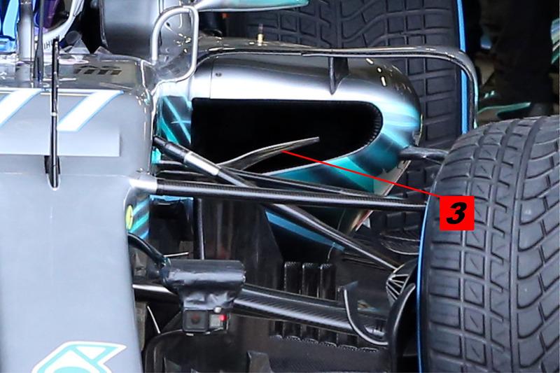Détails du ponton de la Mercedes AMG F1 W09
