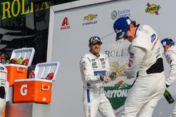 #66 Chip Ganassi Racing Ford GT, GTLM: Sébastien Bourdais celebrate with #67 Chip Ganassi Racing For
