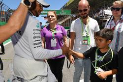 Lewis Hamilton, Mercedes AMG F1 with Felipinho Massa