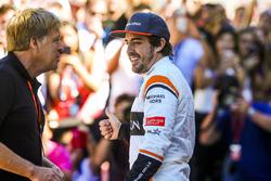 LAT Photographer Steven Tee directs Fernando Alonso, McLaren, for the McLaren team photo call
