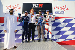 Podium: race winner Stefano Comini, Comtoyou Racing, second place Gianni Morbidelli, West Coast Racing, third place Josh Files, M1RA
