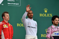 Podium: race winner Lewis Hamilton, Mercedes-AMG F1, second place Kimi Raikkonen, Ferrari, third place Sergio Perez, Force India