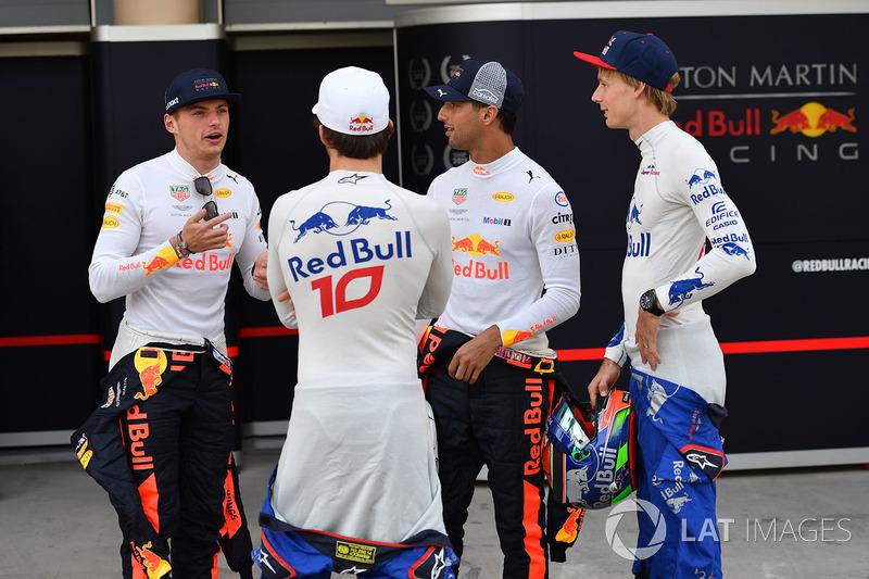 Max Verstappen, Red Bull Racing, Pierre Gasly, Scuderia Toro Rosso, Daniel Ricciardo, Red Bull Racing and Brendon Hartley, Scuderia Toro Rosso