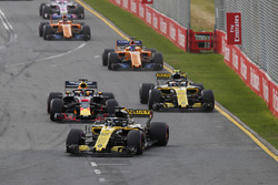 Nico Hulkenberg, Renault Sport F1 Team R.S. 18., leads Daniel Ricciardo, Red Bull Racing RB14 Tag Heuer, and Carlos Sainz Jr., Renault Sport F1 Team R.S. 18