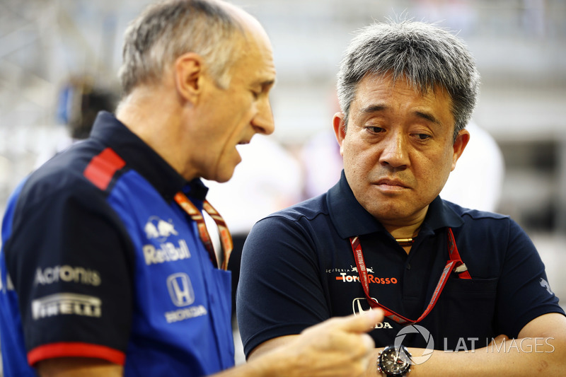 Franz Tost, Team Principal, Toro Rosso, and Masashi Yamamoto, General Manager, Honda Motorsport