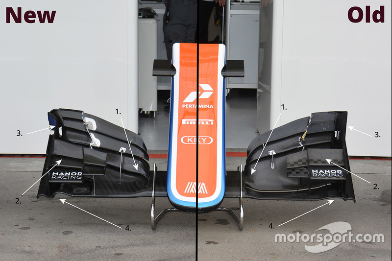 Manor Racing MRT05 old and new front wing