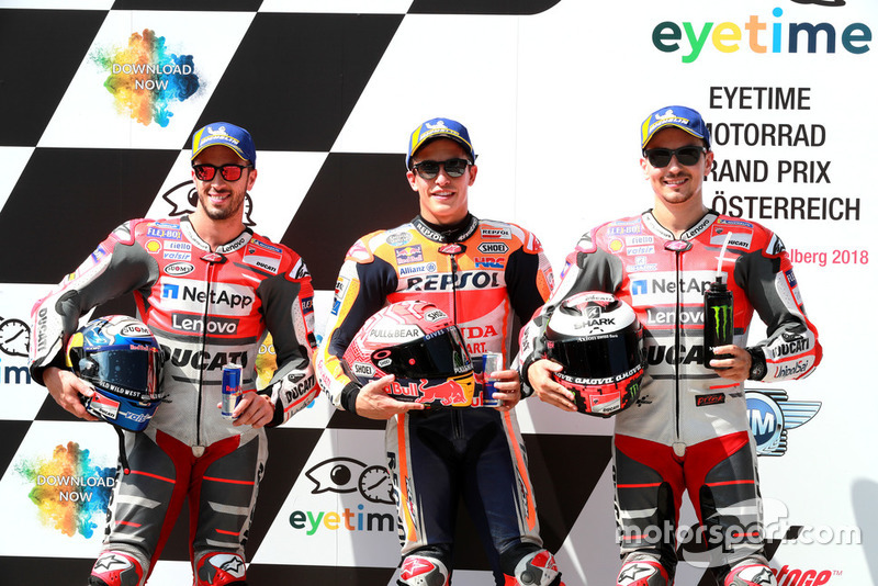 Pole sitter Marc Marquez, Repsol Honda Team, second place Andrea Dovizioso, Ducati Team, third place Jorge Lorenzo, Ducati Team