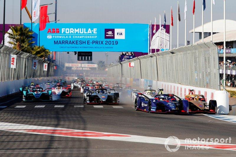 Sam Bird, Envision Virgin Racing, Audi e-tron FE05, Jean-Eric Vergne, DS TECHEETAH, DS E-Tense FE19, choca en la primera curva