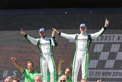 Podium WRC2: winners Esapekka Lappi, Janne Ferm, Skoda Fabia R5
