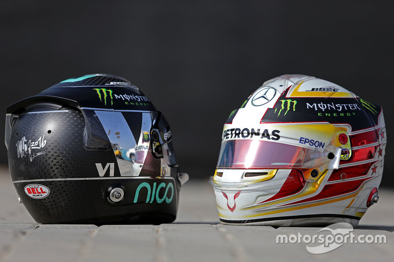 Helmets of Nico Rosberg, Mercedes AMG F1, Lewis Hamilton, Mercedes AMG F1
