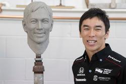 Takuma Sato sitting for Borg-Warner Trophy bust