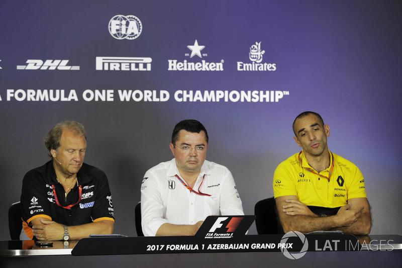 Bob Fernley, Force India, Eric Boullier, McLaren, Cyril Abiteboul, Renault Sport F1 Team