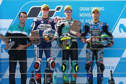 Podium : le vainqueur Joan Mir, Leopard Racing, le deuxième, Fabio Di Giannantonio, Del Conca Gresini Racing Moto3, le troisième, Enea Bastianini, Estrella Galicia 0,0