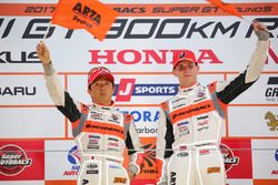 Podium GT300: race winners #55 Autobacs Racing Team Aguri BMW M6 GT3: Shinichi Takagi, Sean Walkinshaw