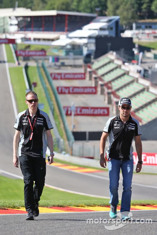 Sergio Perez, Sahara Force India F1 walks the circuit with Will Hings, Sahara Force India F1 Press Officer
