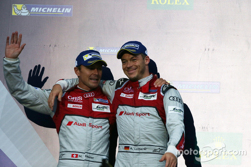 Podium: Second placed #7 Audi Sport Team Joest Audi R18: Marcel Fassler, Andre Lotterer