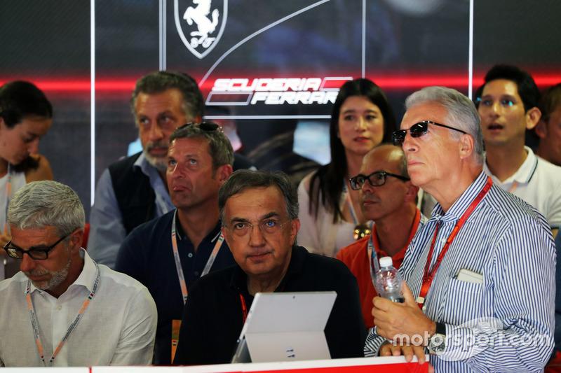 Sergio Marchionne, Ferrari President and CEO of Fiat Chrysler Automobiles (Centre) and Piero Ferrari