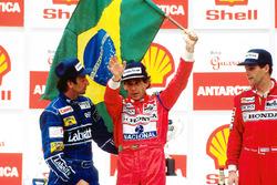 Podium: race winner Ayrton Senna, McLaren, second place Riccardo Patrese, Williams, third place Gerhard Berger, McLaren