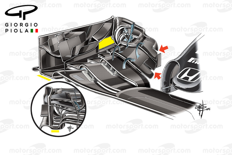 McLaren MP4/31 endplates comparison, Barcelona
