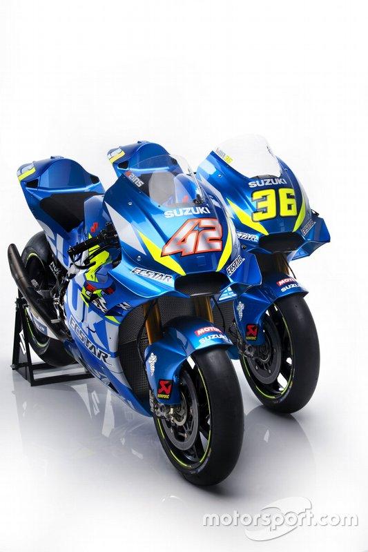 Bikes von Alex Rins, Team Suzuki MotoGP, und Joan Mir, Team Suzuki MotoGP, für die MotoGP-Saison 2019