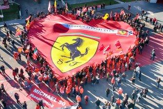 Ferrari flag at the 'Michael 50' exhibition in the Ferrari Museum in Maranello