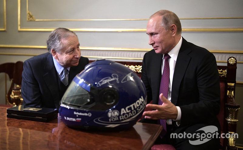 Vladimir Putin, presidente de Rusia, y Jean Todt, presidente de la FIA